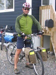 Guy Bouchard repurposed army backpack as bicycle pannier