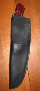 Black leather knife sheath back