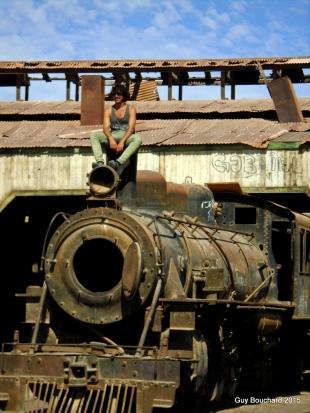 Au José, notre guide, au musée ferroviaire de Baquedano