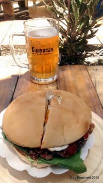 Une bonne bière de la micro-brasserie Guayacan de Vicuna et un super Hamburguesa!